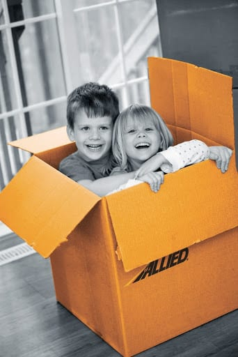 Children in Allied Moving Box Memphis warehousing